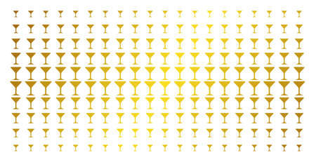 Alcohol glass icon gold colored halftone pattern. Vector alcohol glass shapes are arranged into halftone array with inclined gold gradient. Designed for backgrounds, covers, Illustration