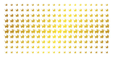 Baby carriage icon gold colored halftone pattern. Vector baby carriage objects are organized into halftone array with inclined gold gradient. Constructed for backgrounds, covers,