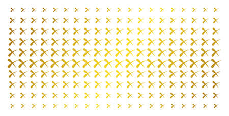 Erase icon gold colored halftone pattern. Vector erase shapes are arranged into halftone grid with inclined golden gradient. Constructed for backgrounds, covers, templates and bright concepts.