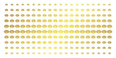 Vision icon golden halftone pattern. Vector vision pictograms are arranged into halftone array with inclined gold color gradient. Designed for backgrounds, covers, templates and luxury concepts.