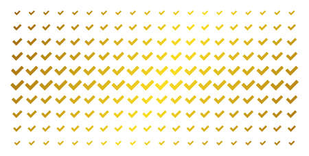 Yes icon golden halftone pattern. Vector yes items are arranged into halftone grid with inclined golden gradient. Designed for backgrounds, covers, templates and abstract compositions. Ilustração