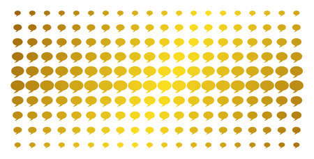Balloon icon gold halftone pattern. Vector balloon objects are organized into halftone grid with inclined golden gradient. Designed for backgrounds, covers, templates and bright effects.