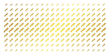 Comb icon gold colored halftone pattern. Vector comb objects are organized into halftone array with inclined gold gradient. Designed for backgrounds, covers, templates and abstract concepts.