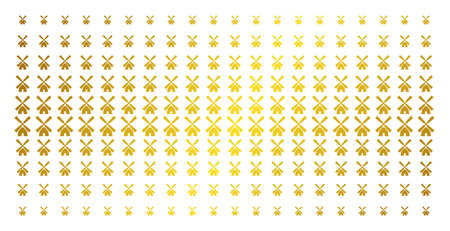 Wind mill icon gold halftone pattern. Vector wind mill shapes are arranged into halftone matrix with inclined golden gradient. Designed for backgrounds, covers, templates and luxury concepts.