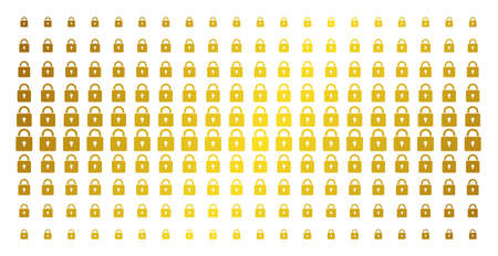 Lock icon gold halftone pattern. Vector lock pictograms are arranged into halftone array with inclined gold gradient. Constructed for backgrounds, covers, templates and abstract effects.