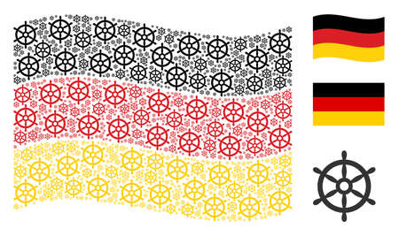 Waving Germany flag. Vector boat steering wheel design elements are arranged into geometric German flag composition. Patriotic concept done of flat boat steering wheel icons.
