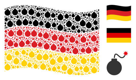 Waving Germany flag. Vector bomb elements are arranged into mosaic German flag illustration. Patriotic collage composed of flat bomb design elements.