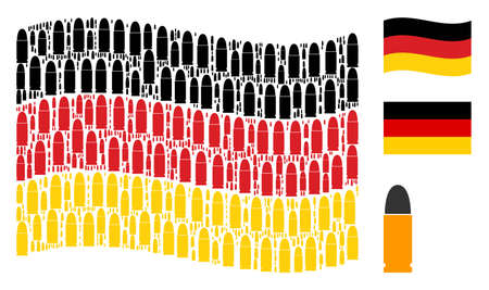 Waving German state flag. Vector ammo bullet elements are united into conceptual Germany flag composition. Patriotic collage constructed of flat ammo bullet icons. Illustration