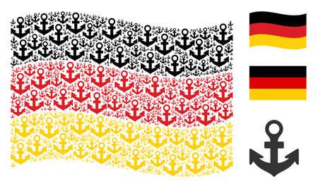 Sventolando la bandiera dello stato della Germania. Gli elementi di disegno dell'ancora di vettore sono organizzati nell'astrazione geometrica della bandiera della Germania. Collage patriottico organizzato di pittogrammi di ancoraggio piatti.
