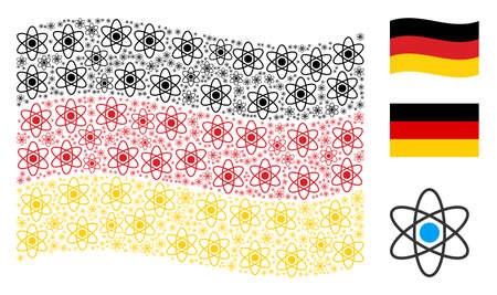 Waving German official flag. Vector atom design elements are united into geometric German flag collage. Patriotic composition composed of flat atom icons. Illustration
