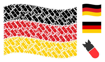Waving German flag. Vector aviation bomb elements are placed into conceptual Germany flag collage. Patriotic collage created of flat aviation bomb pictograms.