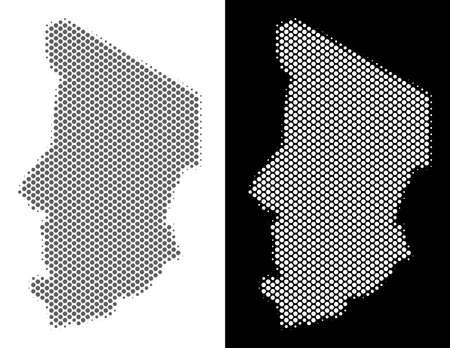 Halftone circle dot Chad map. Vector geographic maps in grey and white colors on white and black backgrounds. Abstract concept of Chad map created of circle spots. Illustration