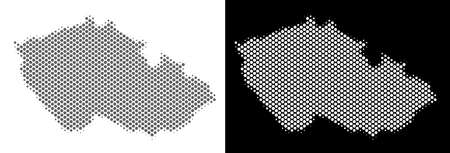 Halftone round dot Czech map. Vector geographic maps in grey and white colors on white and black backgrounds. Abstract pattern of Czech map made of small circles. Ilustração
