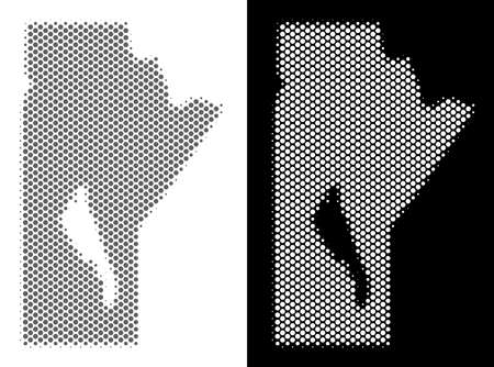 Halftone round pixel Manitoba Province map. Vector territorial maps in gray and white colors on white and black backgrounds. Abstract composition of Manitoba Province map done of circle elements.