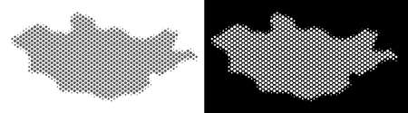 Halftone round blot Mongolia map. Vector territorial maps in gray and white colors on white and black backgrounds. Abstract mosaic of Mongolia map designed of round elements.