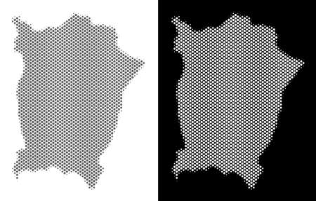 Halftone round pixel Penang Island map. Vector territory maps in gray and white colors on white and black backgrounds. Abstract composition of Penang Island map organized of circle points. Illustration