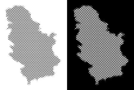 Halftone circle dot Serbia map. Vector geographical maps in gray and white colors on white and black backgrounds. Abstract composition of Serbia map combined of round dots.