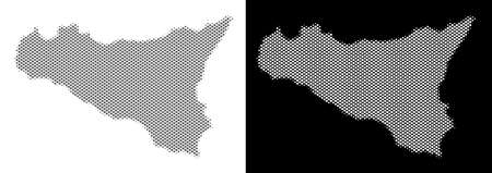 Halftone circle blot Sicilia map. Vector geographical maps in gray and white colors on white and black backgrounds. Abstract pattern of Sicilia map designed of circle blots.