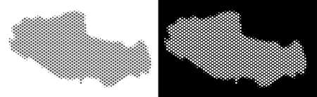 Halftone round pixel Tibet Chinese territory map. Vector geographic maps in grey and white colors on white and black backgrounds.