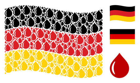 Waving German official flag. Vector drop design elements are scattered into geometric Germany flag illustration. Patriotic illustration created of flat drop icons.