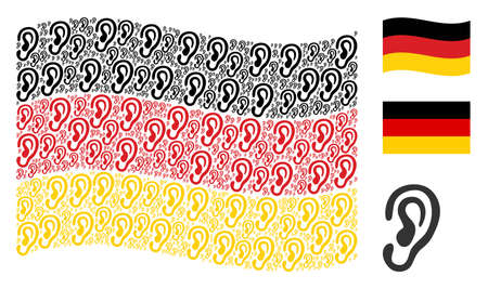 Waving German flag. Vector ear design elements are grouped into conceptual German flag composition. Patriotic concept composed of flat ear elements.