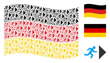 Waving Germany official flag. Vector exit direction icons are scattered into geometric German flag abstraction. Patriotic concept designed of flat exit direction elements. Illustration