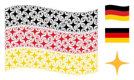 Waving German state flag. Vector space star design elements are formed into conceptual Germany flag collage. Patriotic composition constructed of flat space star elements.