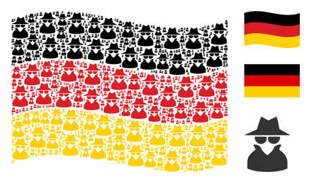 Waving Germany official flag. Vector spy pictograms are formed into conceptual German flag composition. Patriotic collage done of flat spy design elements. Ilustração