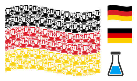 Waving Germany state flag. Vector flask pictograms are placed into conceptual German flag collage. Patriotic composition created of flat flask design elements. Stock Illustratie