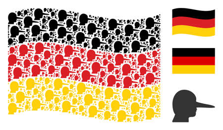 Waving Germany official flag. Vector lier pictograms are placed into mosaic Germany flag illustration. Patriotic composition composed of flat lier elements.