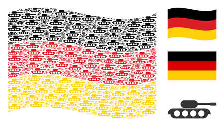 Waving German official flag. Vector military tank items are grouped into conceptual Germany flag collage. Patriotic composition combined of flat military tank elements. Illusztráció