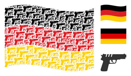 Waving Germany flag. Vector pistol gun pictograms are united into conceptual Germany flag illustration. Patriotic composition designed of flat pistol gun elements.