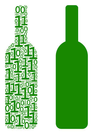 Wine bottle collage icon of zero and null digits in random sizes. Vector digit symbols are composed into wine bottle composition design concept. Çizim