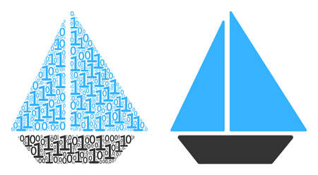 Yacht mosaic icon of zero and null digits in variable sizes. Vector digital symbols are formed into yacht mosaic design concept. Çizim