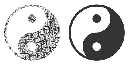 Yin yang composition icon of zero and null digits in various sizes. Vector digits are scattered into yin yang mosaic design concept. Stock Illustratie