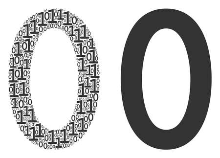 Zero digit composition icon of zero and one symbols in random sizes. Vector digits are grouped into zero digit mosaic design concept.