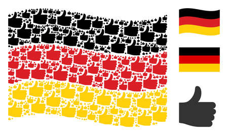 Waving German state flag. Vector thumb up pictograms are combined into geometric German flag illustration. Patriotic composition organized of flat thumb up icons.