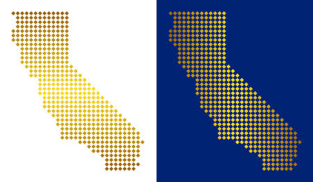 Gold dot California map. Vector territorial maps in shiny colors with vertical and horizontal gradients. Abstract collage of California map created of rhombic parts. 向量圖像