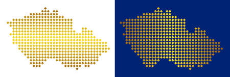 Gold rhombic Czech map. Vector geographic maps in gold colors with vertical and horizontal gradients. Abstract composition of Czech map combined of rhombic items.
