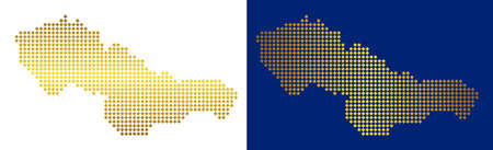 Gold dot Czechoslovakia map. Vector territorial maps in golden colors with vertical and horizontal gradients. Abstract mosaic of Czechoslovakia map constructed of rhombic dots. Çizim