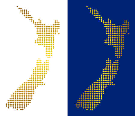 Golden dot New Zealand map. Vector territorial maps in luxury colors with vertical and horizontal gradients. Abstract collage of New Zealand map done of rhombic pixels.