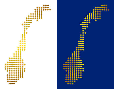 Gold dotted Norway map. Vector territorial maps in luxury colors with vertical and horizontal gradients. Abstract composition of Norway map designed of rhombus dots.