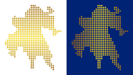 Gold dot Peloponnese Peninsula map. Vector geographical maps in shiny colors with vertical and horizontal gradients. Abstract pattern of Peloponnese Peninsula map organized of rhombic dots.