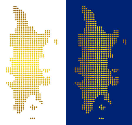 Gold dot Phuket map. Vector geographical maps in shine colors with vertical and horizontal gradients. Abstract collage of Phuket map organized of rhombus pixels.