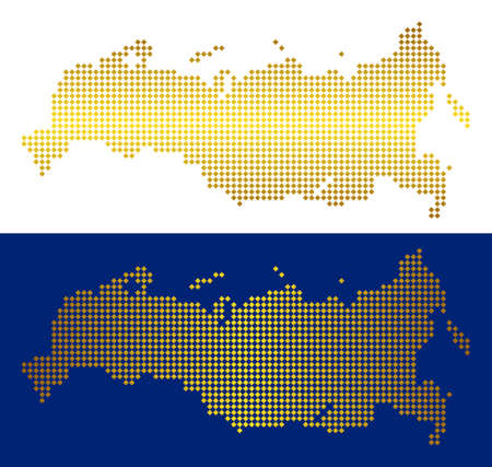 Gold dot Russia map. Vector territory maps in luxury colors with vertical and horizontal gradients. Abstract concept of Russia map constructed of rhombic dots.