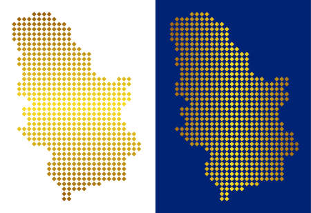 Gold rhombic Serbia map. Vector territory maps in yellow colors with vertical and horizontal gradients. Abstract collage of Serbia map designed of rhombic pixels.