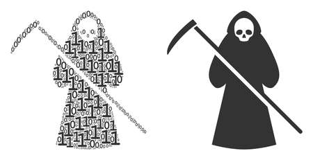 Death scytheman mosaic icon of binary digits in various sizes. Vector digit symbols are scattered into death scytheman illustration design concept. Illustration