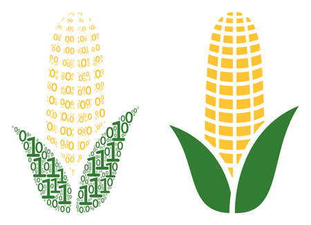 Corn collage icon of zero and one symbols in randomized sizes. Vector digit symbols are arranged into corn collage design concept.