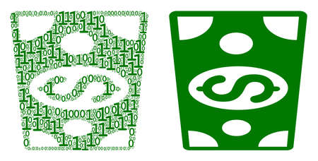 Dollar banknote composition icon of zero and null digits in random sizes. Vector digits are organized into dollar banknote mosaic design concept. Иллюстрация