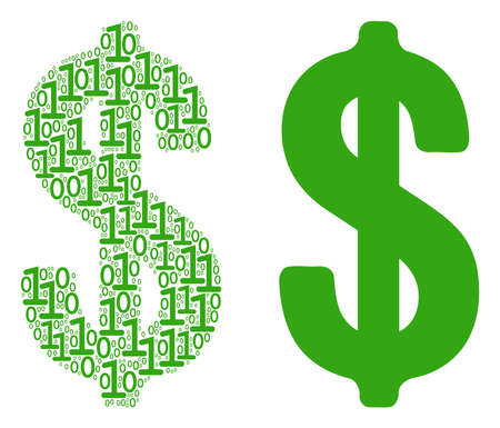 Dollar collage icon of zero and null digits in randomized sizes. Vector digital symbols are organized into dollar mosaic design concept.
